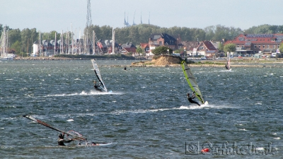Fehmarn, windsurfen in Gold. Blick Richtung Orth.