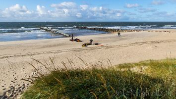 Hvidbjerg Strand, Blåvand, Dänemark, Kitesurfen