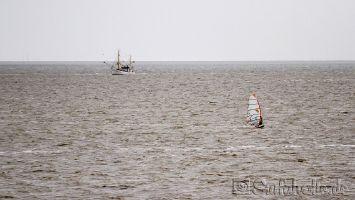 Vollerwiek, Windsurfer und Krabbenkutter