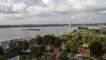 Schleswig, Blick vom St.Petri Dom auf die Schlei mit Möweninsel, Ostsee