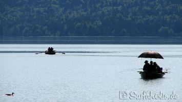 Walchensee. Morgens angeln, mittags surfen