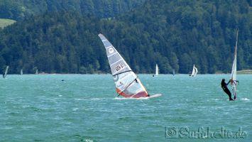 Walchensee, windsurfen an der Wiese
