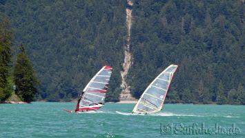 Walchensee, windsurfen bei Nord-Ost Thermik