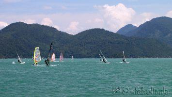 Walchensee, windsurfen bei Thermikwind