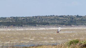 Le Parc à Huitres, Etang de Leucate, windsurfen bei 9-10 bft