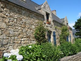Bretonische Haus nahe Quiberon, Morbihan, Bretagne, Frankreich