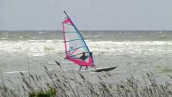 Hindeloopen, windsurfen bei Nordwest auf dem Ijsselmeer