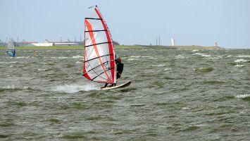 Windsurfen in Hindeloopen, Im Hintergrund ist Stavoren zu sehen