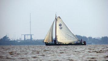 Segelschiff auf dem Lauwersmeer, Nordholland.