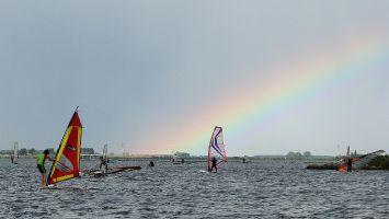 Regenbogen, Veluwemeer bei Strand Horst