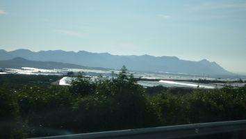 Eindruck von der Fahrt entlang der spanischen Küste. Treibhäuser für deutsches Obst....