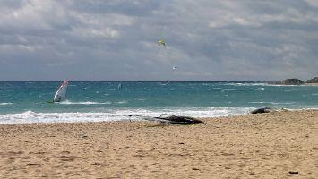 Tarifa, Windsurfen am Atlantikstrand bei Las Dunas - Düne
