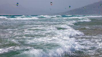 Tarifa, Campo de Futbol, windsurfen bei Südwind